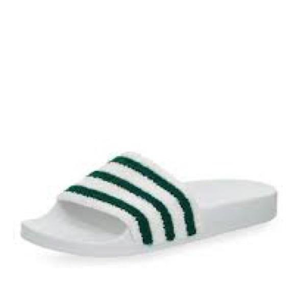 921b2dcea90d5e Adidas Adilette Green and White Towel Pool Slide